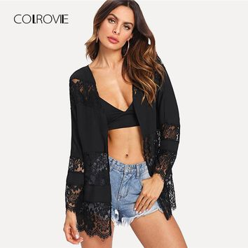 Black Solid Cut Out Sheer Lace Embroidered Open Front Cardigan Autumn Long Sleeve Kimono Vacation Women Blouse