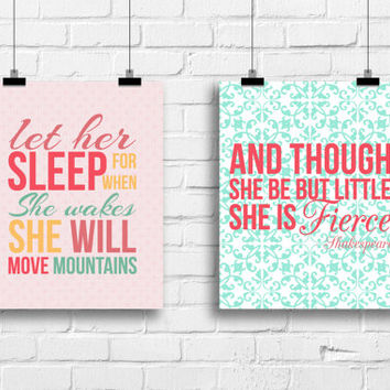 Let her sleep, and though she be but little she is fierce, baby decor, Kids art, Kids Wall Art, typography prints, nursery girl decor