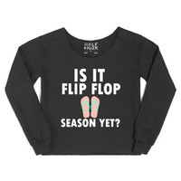 Is It Flip Flop Season Yet?-Female Black Hoodie