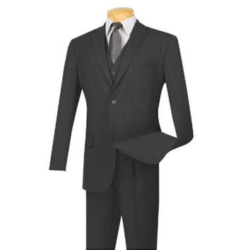 Extra Long For Tall Man Vested Three Piece Two Button Style Pinstripe Suit Charcoal