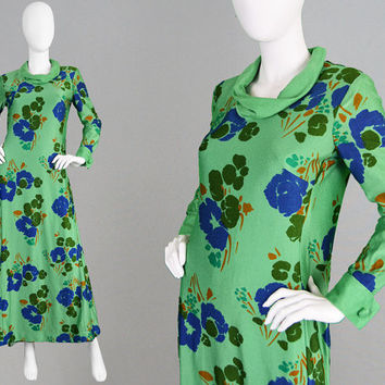 Vintage 70s Maxi Dress Green Maxi Dress Cowl Neck Dress Blue Floral Print Long Hippie Dress Boho Maxi Dress 1970s Festival Brushed Nylon