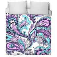 Purple And Blue Paisley Comforter