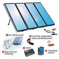 60-Watt Solar Panel Charging Kit With Charge Controller & Inverter