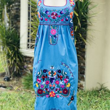 Mexican Traditional Embroidered Halter Dress Turquoise