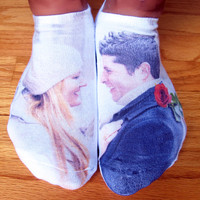 Custom Printed Photo Valentine Socks, Valentine, Engagement, Wedding Gift Idea, Set of 3 Cotton White No Show Socks, Men's and Women's Socks