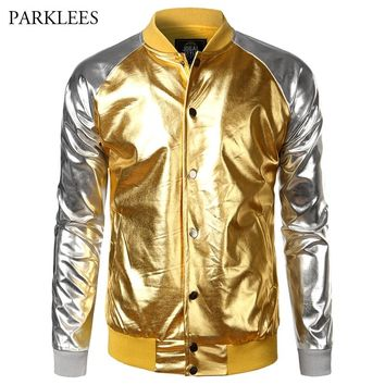 Shiny Bomber Jacket Men Night Club Metallic Coated Mens Jackets and Coats 2017 Brand Design Veste Homme Baseball Varsity Jacket
