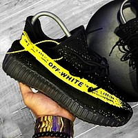ADIDAS x Off White Yeezy Boost 350 V2 Woman Men Fashion Sport Sneakers Shoes Black letters yellow