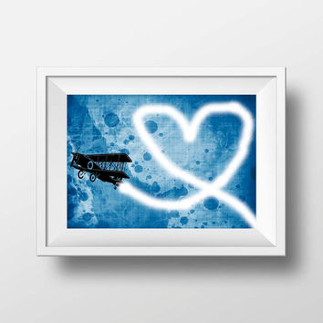 Banksy print - Airplane heart Banksy print tribute stencil art graffiti wall decor