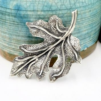 Vintage DANECRAFT STERLING PIN Brooch Sterling Silver Oak Leaf Form Danish Style Brooch Pin