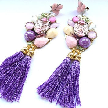 Tassel earrings, Fringe Earrings, Purple tassel, purple earrings, Earrings, Pink earrings, Pink Purple White, earrings, Multicolor earrings,