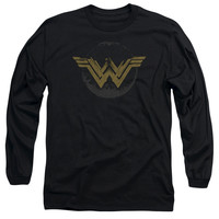 Wonder Woman Distressed Movie Logo Mens Long Sleeve T-Shirt