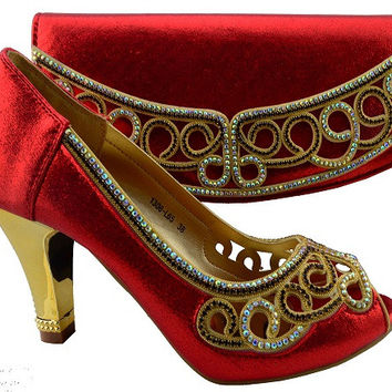 Red  shoes and bag sets with rhinestones