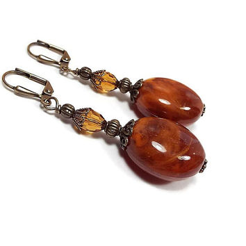 Orange Brown Earrings, Caramel Swirl with Vintage Lucite Beads, Drop Dangle, Antiqued Brass, Clip on Earrings Lever Back Hook