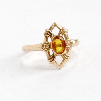 Vintage 10k Rose Gold Simulated Citrine Flower Ring- Art Deco 1930s 1940s Size 5 Floral Yellow Orange Stone Fine Jewelry