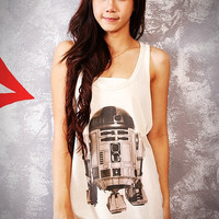 R2-D2 Robot Star Wars Classic Film Off White Cream Tank Top T-Shirt Vest Tunic Women Size S M