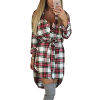 2016 Explosions Asymmetrical Vintage Dresses Autumn Fall Women Plaid Print Dress Casual Shirt Dress Mini Vestidos Winter GV426