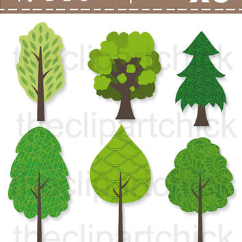 Clipart Tree, Digital Clipart Tree, Tree Clipart, Clipart Commercial - Instant Download