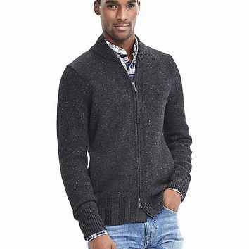 Banana Republic Mens Textured Baseball Sweater Jacket