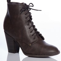 Breckelles Bewitching Woman Faux Leather Pointed Toe Lace Up Booties - Brown