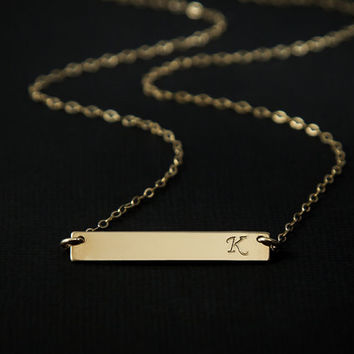 Gold Bar Necklace.Initial Bar Necklace.Personalized Name Bar Necklace. Nameplate Necklace. Horizontal Bar Pendant. Monogrammed Bar.Gift Bar.