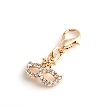Gold Mask Dangle Charms with Rhinestones 20 pcs