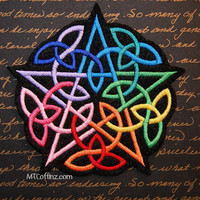 Rainbow Celtic Pentagram Iron On Embroidery Patch MTCoffinz - Choose Size