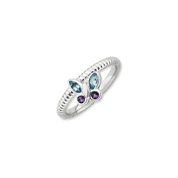 Sterling Silver Genuine Gemstone Stackable Butterfly 2.5mm Ring