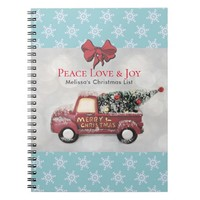Peace Love & Joy Toy Truck Merry Christmas Notebook