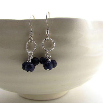 Reduced for Labor Day weekend!  Delicate sapphire earrings,  dark blue sapphire cluster earrings, September birthstone, sterling silver