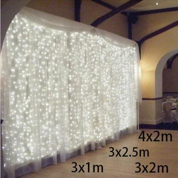 3x1/3x2/4x2m leds icicle led curtain fairy string light led Christmas light fairy  light Wedding home garden party decoration