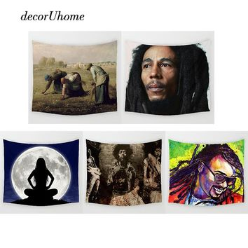 DecorUhome Nordic Bob Marley Wall Decoration Beach Towels Home Decor Hanging Living Yoga Mat Miller Printing Wall Tapestry