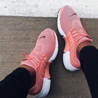 """NIKE""Air Presto Women Fashion Running Sport Casual Shoes Sneakers (Pink-small wine red hook)"