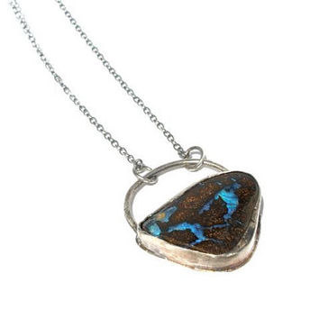 Boulder Opal Necklace Bezel Set in Sterling Silver- Blue Veins