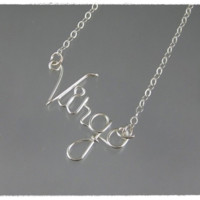 Virgo Astrology Sign Wire Word Pendant Necklace