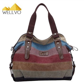 Women Canvas Handbag Stripe Patchwork Shoulder Bag Famous Brand K2 Handbags Large Tote Crossbody Messenger Rainbow Bags XA274C
