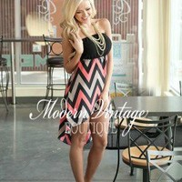 Party at Midnight Chevron High low CORAL