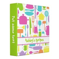 Kitchen tools and utensils colourful recipe vinyl binder from Zazzle.com