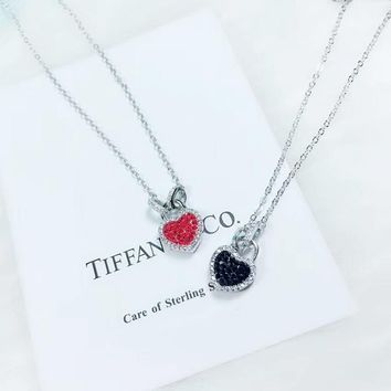Tiffany   CO New fashion gem diamond love heart pendant sterling d92d5e1a9e