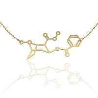 Cocaine Molecule Necklace 14k Gold Fill, chemistry jewelry, chemistry necklace