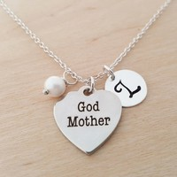 Godmother Necklace- God Mother Necklace - Initial Necklace - Personalized Necklace - Sterling Silver Jewelry - Gift for Her