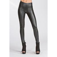 Low Waisted Thick Pleather Leggings - Black