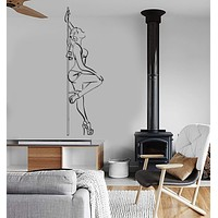 Vinyl Wall Decal Pole Dance Striptease Sexy Woman Stickers Unique Gift (ig3775)