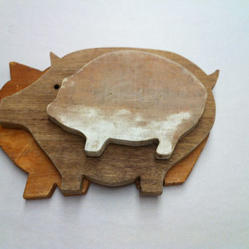 Vintage Pig Cutting Boards-Wood 3pcs