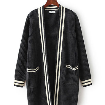 Korean Ulzzang College Style Striped Double Pocket Loose Knit Cardigan