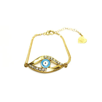 Large Evil Eye with Rhinestones Chain Bracelet