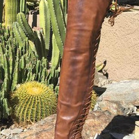 Stunting Brown Rear Lace Up Knee Boots