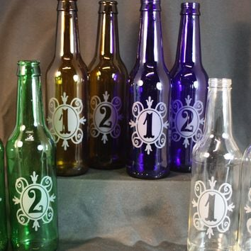 Table Number Vases from Recycled Beer Bottle, Wedding Table Numbers, Etched Bottles, Wedding Accessories, Upcycled Bottles, Table Vases