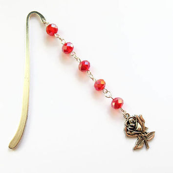 Rose bookmark, flower bookmark, unique bookmark, metal bookmark, book accessories, garden bookmark, bookmarker, charm bookmark, book gift