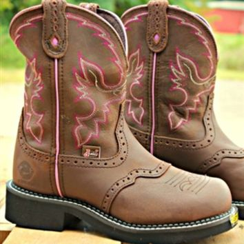 Women's Steel Toe Justin Work Boot is an 8-inch tall Women's Justin Gypsy® Classic boot with a fashion round steel toe, a unit heel, and J-Flex Flexible Comfort System® insoles. They also have removable orthotic inserts.