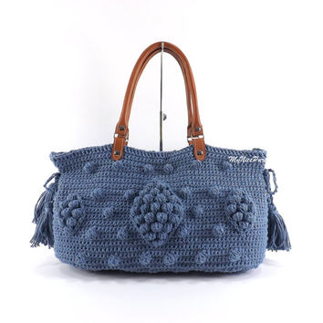 SALE Gerard Darel Dublin Style Handbag with Genuine Leather Handles /BLUE JEANS/,  Crochet bag, Tote, Purse, Gift Idea